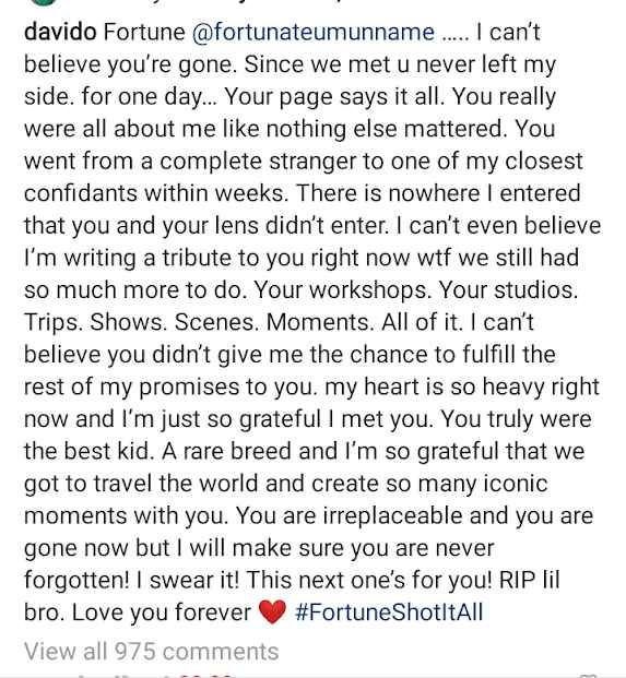 """""""My Heart Is So Heavy Right Now…"""" – Davido Finally Pens Tribute To His Late Photographer, Fortune"""