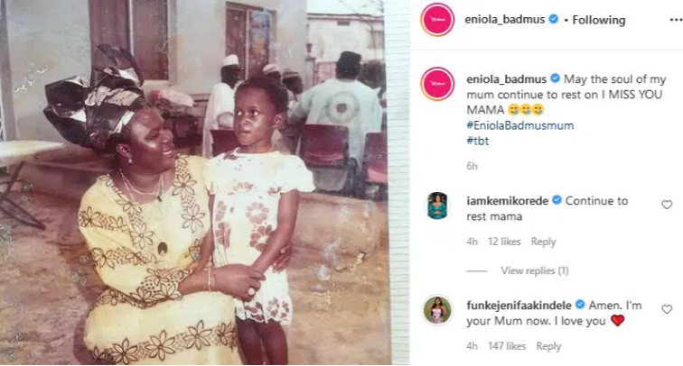 I Am Your Mum Now – Funke Akindele Comforts Eniola Badmus As She Mourns Her Mother