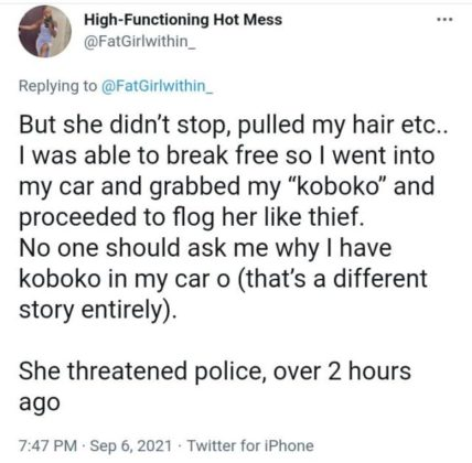 Nigerian Lady Recounts How She Mercilessly Flogged An Elderly Woman in Public (Photo)