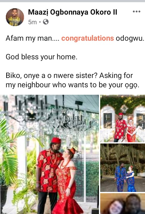 Nigerian Man And His Oyibo Wife Rock Traditional Outfits For Their Wedding (Photos)